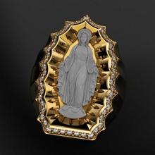 virgin mary ring 3d print model virgin mary saint maria statue god goddess jesus religious christian jewelry jewellery deity mother art sculptures rings