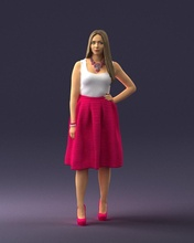 woman pink 0072 3d print ready 3d scan model polygon 3dprint human male realistic posed character people miniatures man woman child style success outfit fashion