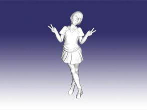 jovial écolière gratuit modèle 3d - télécharger le fichier obj Les jouets Personnes belle fille uniformes de fichier obj