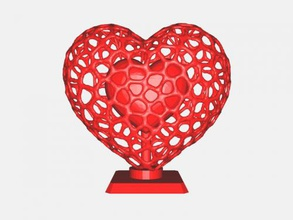 double heart free 3d model - download stl file Home Accessories heart voronoi style stl file
