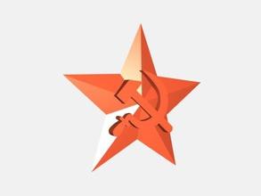 simbolo del comunismo gratuita modello 3d - scaricare il file stl Moda Accessori martello, falce stella rossa file stl