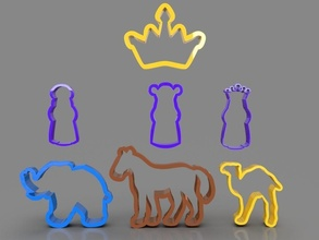 3 wise men animals cookie cutters pack wisemen animals cookies cutters 3dprint 3dprinting food sweet biscuit bakery treat bread candy baked pastry dough christmas horse camel elephant hobby diy hobby diy hand tools hand tools