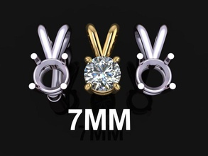 4 prong solitaire split bell pendant 7mm jewelry pendant chain necklace solitaire 4 prong 4 prong solitaire diamond diamond pendant diamond necklace diamond charm fashion trend women female mix size style 7mm pendants