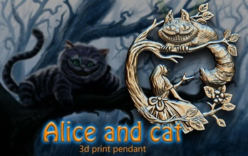 Alicia Cheshire gato Alicia Cheshire gato mundo maravilloso hada cuento colgante pendiente Arte cine arte fan 3dprint juegos juguetes juegos juguetes