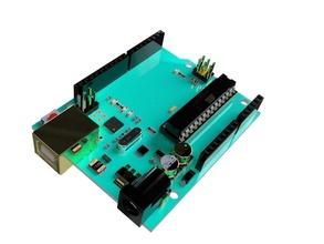 arduino uno arduino uno atmel circuit board component capacitor microcontroller ic atmga atmega8 diy atmega328 hobby hobby diy electronics education 3d printing rendering