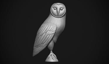 Scheune Eule Eule Vogel wild Gefieder Pelz schneebedeckt Raubtier Figur Prototyp entwickeln Tier Scheune Natur Statue detailliert Flügel Krallen Sitzung niedlich wunderschönen Kunst Skulpturen
