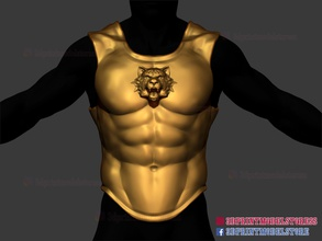body chest armor - larp armor cosplay - tiger roman muscle armor body body armor armor cosplay armor cosplay helmet helmet cosplay mask tiger helmet chest armor larp armor 3d print file 3d print file roman armor roman muscle armor knight armor warrior armor costume 3d print marvel cosplay halloween cosplay games toys games toys