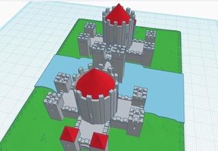 castillo medival castillo fortaleza Gemelos impresión 3d Caballero medio fantasía cruzado años guerrero mmo juegos juguetes juegos juguetes tablero tablero juegos