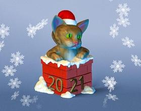 gato Chimenea Navidad recuerdo Navidad estatua escultura divertido Arte Año invierno figura juguete Chimenea 2021 newyear2021 juegos gato juguetes juegos juguetes