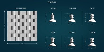 chess set games-toys chess bishop king queen knight rook pawn chesstable table lowpoly highpoly printable 3dprint game games toys games toys