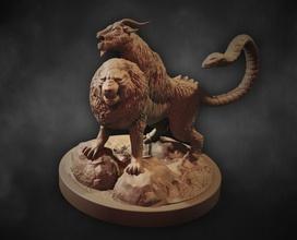 quimera juegos-juguetes quimera mítico la estatua monster mito de la catedral de cabra la mitología mágico escultura la fantasía criatura de ficción leyenda bestia figura león de la serpiente la criatura griego en miniatura 28mm juegos los juguetes juegos de juguetes de la junta los juegos de mesa