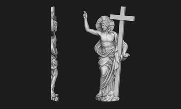 Christ ressuscité bas relief Jésus bijoux Dieu bijoux cnc pendentif médaillon traverser crucifix religieux Christian catholique crucifixion portrait soulagement bas soulagement imprimable argent résurrection ressuscité art sculptures