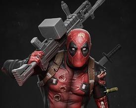 Deadpool heykel Deadpool 3dbaskı 3 boyutlu baskı hayret mcu kan Katana Örümcek Adam Demir adam samuray yazdırılabilir Sanat heykeller