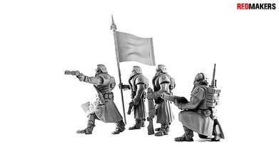 death command squad imperial force krieg death korps dkok wh40k 28mm command cult tabletop human soldier army imperial guard red makers toys grimdark skifi 40000 games games toys board board games