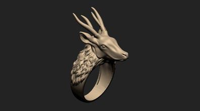 cervi anello gioiello gioielli jewells jewell oro argento cnc zbrush cervi animale longhorn la scultura art stampabile animali cranio l'osso l'anatomia cari animale scheletro gioielli anelli
