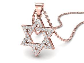 diamante pingente Estrela david colar 24mm 3dmodel estrela Davi diamante pingente joalheria cafajeste imprimível 3dmodel judaico pingente delicado Estrela david EUA Canadá Israel colar precioso cera