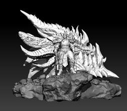 fan art - varian wrynn deathwing diorama wow warcraft fantasy fictional creature warior mmo fantasy mmorpg gaming hero villain print art printable sculpture armor knight dragon sculptures
