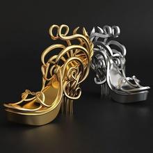 fashion lady shoes idea printable 3d model fashion chrome metallic steel fashion shoe shoes elegant classic luxury gold silver decor absrtruct jeweler statue sculptur print printable sterling