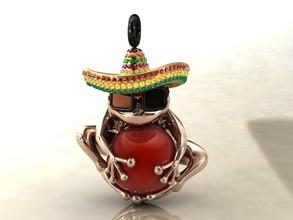 rana messicano sombrero incantesimi pendente palla forma rana animale pendente incantesimi gioielli gioielleria moda moda gioielli sombrero fascino Messico spagnolo siesta lusso oro argento cast gioielleria