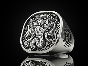 Ganesha Ring Ganesh indisch Hindu Hinduismus religiös Ohm Herr om Elefant Mythologie Figur Brahmanda Shiva Silber Schmuck Schmuck 3dprinted Ring Design Ringe