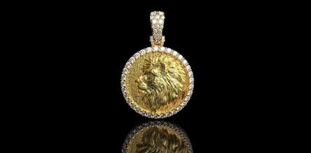 ouro n824 ouro leão joalheria prata pingentes jóias jóia diamante diamante anel moda anel noivado branco gema Casamento animal natureza bengala Puma colares anel