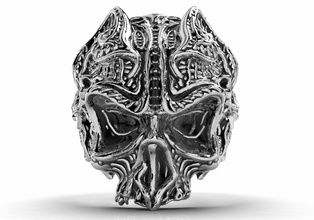 gothic skull ring 3d model printing jewelry ring - gp9 skull ring gothic ring men ring ring ring men biker ring badass ring silver ring oxidized ring celtic ring skulls skull model jewelry ring jewelry design vintage ring punk ring hippies ring gothic style printable patterns jewelry rings