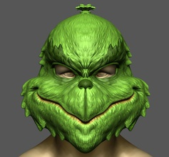grinch mask christmas costume halloween cosplay stl file games-toys grinch mask helmet christmas costume cosplay halloween noel funny mask grinch dr seuss monster games toys games toys xma