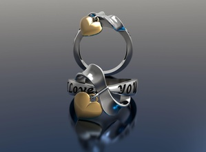corazón anillo mujer anillo corazón amor plata oro joyería joya impresión 3d rinoceronte mujer platino plano prototayp fundición joyería joya anillos