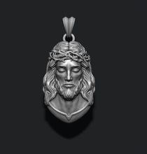 jesus pendant v2 jewelry printable necklace christ religiou object jesu head face jewish cross christianity god cathedral holy bible nazareth character thorns silver pendants