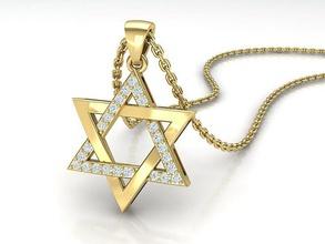 judaico Estrela david diamante pingente colar 24mm judaico david Estrela estrela Davi colar joalheria diamante Estrela pingentes Estrela diamantes impressao 3D EUA Canadá Israel cafajeste imprimível david pingente