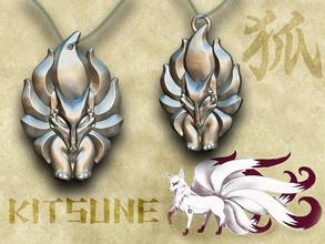 kitsune - nine-tailed fox kitsune japanese fox amulet japan mythology shintoism ancient pendant creature beast emblem games toys games toys