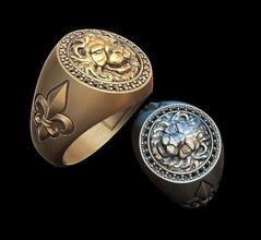 león lirio anillo oro joyería joya plata imprimible impresión anillo hombre joya león cabeza lirio heráldico anillos