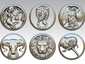 lot 6pcs zodiaque modèles Leo Lion zodiaque horoscope astrologie Scorpion Balance Taureau taureau Poissons poisson bélier vache astrologique signe imprimable bijou bijoux pendentifs