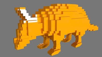 lowrez series - armadillo art armadillo lowres lowrez 3dprint voxel pixelate effect toys art sculptures