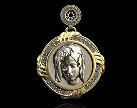 mary pendant-pieta jewelry 3d printable jewelry pendant pendants gold silver platinum gem diamond mary religion religiou christ stl jesus virgin mother pieta icon