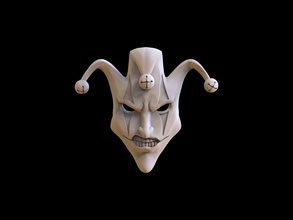 mask face jester joker relief 3d print model masquerade mask face decoration jewelry sculpture art people silver printable men drama anonymous venetian theater costume hobby diy pendants