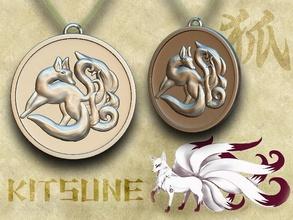 medallion kitsune - nine-tailed fox kitsune japanese fox amulet japan mythology shintoism ancient pendant creature beast emblem games toys medallion games toys