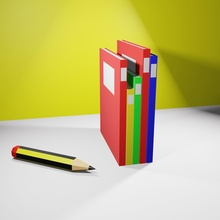 model book poly pencil lowpoly  book pencil poly school test education bookstore diary journal library bookcase study  science