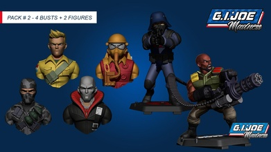 pack 02 - gi joe madness - 4 bust 2 figure characters cartoon male zbrush army collectibles 3dmodel sculpt tvseries toys 3dprint gametoys statue gijoe cobra cartoonstyle printable retro 80s pack games games toys