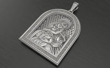 pendentif Marie bébé Jésus pendentif bijoux or argent bijoux mode beauté sterling imprimable cnc ange Sauveur gardien amulette phylactère pendentifs 3d fasion rubis