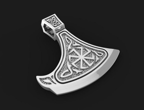 pendant slavic axe 02 jewelry pendant slavic axe fasion silver printable feiry cnc 3dprint oldest relic neckace jewelry pendants