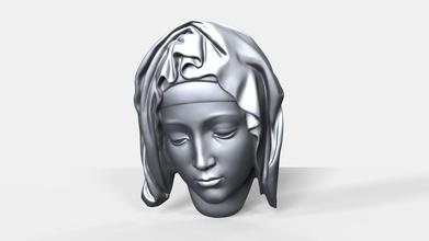 pieta face bas relief art pieta michelangelo renaissance mary head face bas relief cnc sculpture printable 3d print carving art zbrush woodworking sculptures