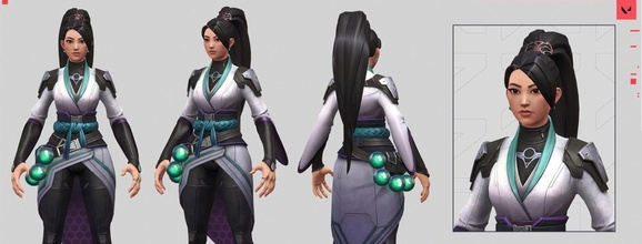 sage - valorant 3d print model valorant sage reyna omen cypher phoenix viper breach brimstone jett woman pretty game fps anime character pc games 3d riot toys games toys