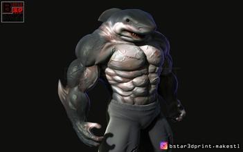 shark man 3d print art shark man scuplture animal shark man shark human human anatomy character shark body body muscle mammal sea nature killer monster devil art sculptures