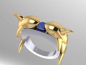 Hai Megalodon Ring frei Hai Megalodon Ring frei Gold 3d Modell download cnc Drucker Schmuck Ringe