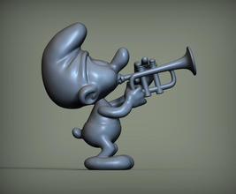 pitufo trompeta pitufo trompeta figura juguete Arte personaje esculturas 3d impresión modelo esculpir estatuilla interior recuerdo niño juego juegos juguetes