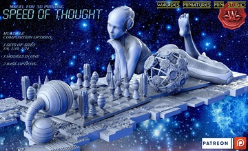 speed thought technology futuristic woman cyber chess miniatures figurines art sculptures