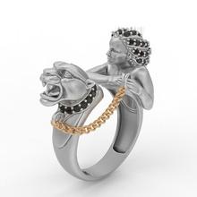 tigre anel magerit pantera diamante imprimível prata branco esterlina moda ouro pingente jaber joalheria gema Puma bengala pingentes anel animal dedo argolas