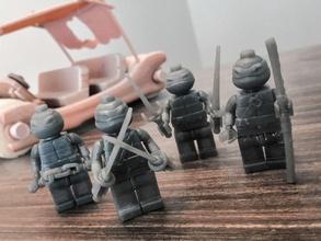 tmnt lego action figures tmnt leo donnie mikey raph lego mini figure 3dmodel 3dprint printready ninja turtles mutant games toys games toys