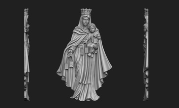 virgen del carmen bas-relief virgin virgen mary carmen carmel mother jesus saint bible pendant medallion jewelry jewellery christ christian cnc portrait church religious catholic art sculptures